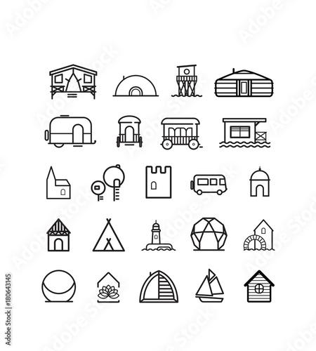 Sticker collection de pictos de gites insolites pour des vacances atypiques dans un cadre original