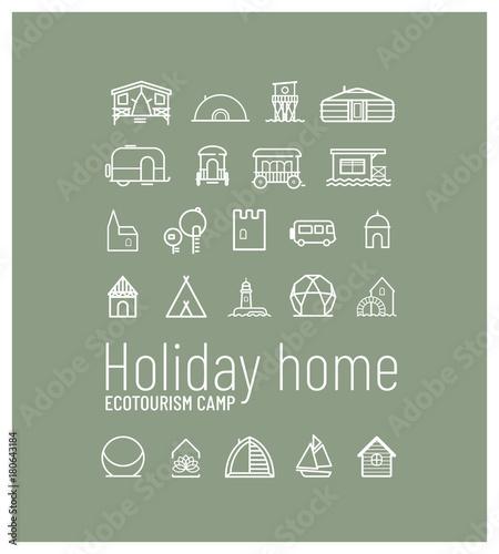 Poster collection de pictos pour un camping de gites insolites pour des vacances écologiques et un tourisme proche de la nature