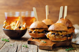 French Onion beef sliders with beer - 180644143