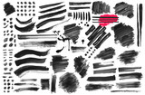 Set of black paint, ink brush, brush. Dirty element design, box, frame or background for text. Line or texture. Vector illustration. Isolated on black and white background_p