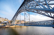 View on the famous Luis iron bridge during the morning light in Porto, Portugal - 180644752