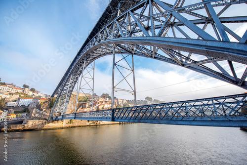 Obraz na płótnie View on the famous Luis iron bridge during the morning light in Porto, Portugal