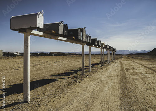 Aluminium Route 66 Mailboxes in the desert along the route 66 (Arizona)