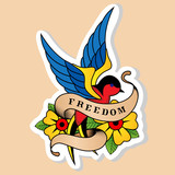 Sketch of old school tattoo. A sketch of a blue-red bird, swallow tattoo with flower and sign freedom. The sketch is made in warm colors. Hipster, youth old school picture for boys and girls - 180647766