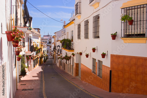 Fotobehang Smalle straatjes Street. Beautiful Spanish street. Costa del Sol, Andalusia, Spain.