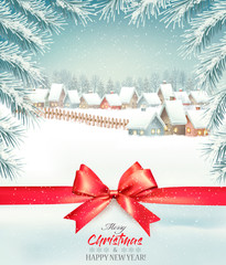 Merry Christmas Background with branches of tree and winter village. Vector