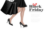 Black Friday sale background with elegant shopping woman and shopping bags. Vector - 180652913