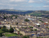 panoramic view of halifx in west yorkshire showing king cross area and pennine hills in the background - 180653143