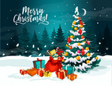 Christmas Tree  New Year Gift Greeting Card Wall Sticker