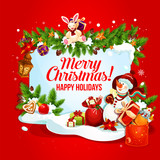 Christmas and New Year card with gift and snowman