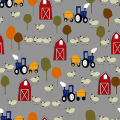 Red barn, tractor and the sheep farm seamless pattern