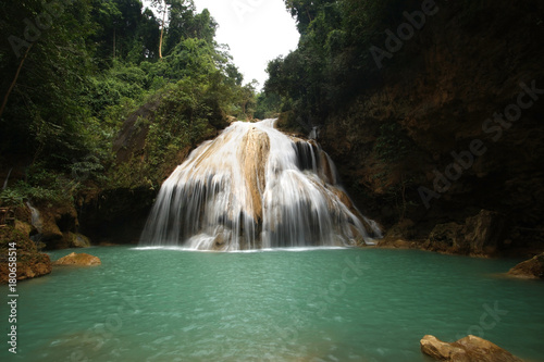 beautiful waterfall with blue water - 180658514