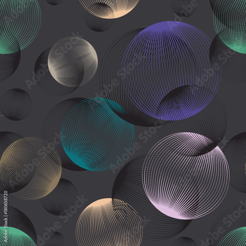 Abstract linear spheres seamless pattern. Colorful repeatable modern design with bubbles. Geometric circles background. - 180658720