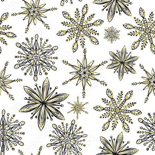 Materiał do szycia Winter seamless pattern. Hand drawn creative snowflakes. Snowfall. Artistic background with decorative snow. It can be used for wallpaper, textiles, wrapping, card, cover. Vector illustration, eps10