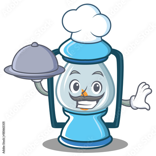 Fridge magnet Chef with food lantern character cartoon style