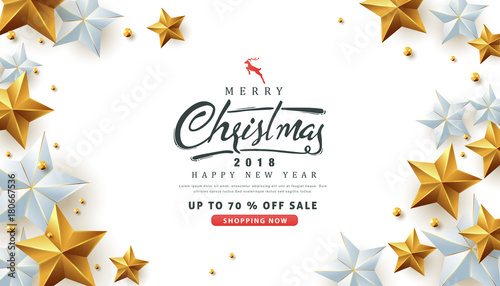 merry christmas and happy new year sale banner background with christmas icon setdiscount gift