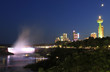Skyline of Niagara Falls, river and town at night viewed from Canadian Side