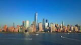 Aerial video of New York City and Lower Manhattan with a view of the One World Trade Center - 180671521