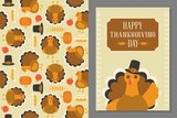wild turkey seamless pattern and greeting card template for thanksgiving day, flat design