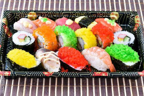 Aluminium Sushi bar Sushi Set on tray in japanese food style