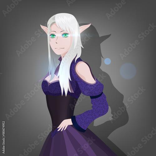 Portrait anime elf girl, princess - 180674952