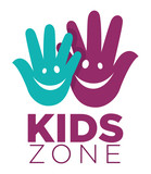 Kid zone playground or children education calssroom vector letters hands smile icon