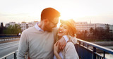 Romantic couple dating in sunset - 180678536
