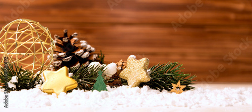 Christmas background with christmas balls, gifts and decoration - 180680192