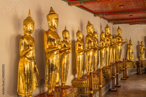 Fotobehang Boeddha Standing Buddha image at Wat Pho that is a Buddhist temple complex Chinese and Thai style in Bangkok, Thailand