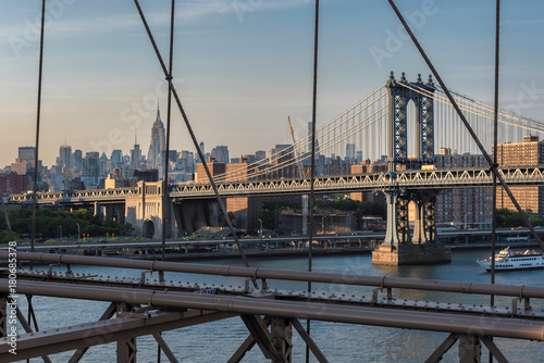 New York skyline from Brooklyn bridge.