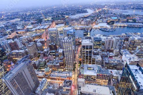 Aluminium Sydney SYDNEY, AUSTRALIA. – On October 10, 2017 –The city view of sydney at night from sydney tower