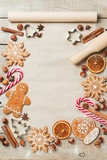 Holiday food background for baking gingerbread cookies. Vintage paper sheet for christmas recipe. Text space, top view. - 180685978