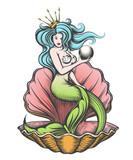 Mermaid  Pearl In Her Hand Wall Sticker