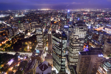 SYDNEY, AUSTRALIA. – On October 10, 2017 –The city view of sydney at night from sydney tower