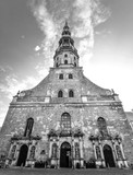 Riga, Latvia - August 22, 2017: View on ancient Saint Peter's Church, Riga, Latvia. First mention of the St. Peter's Church is in records dating to 1209. Saint Peter's Church full view