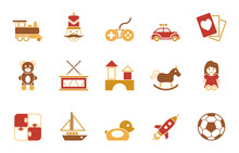 Kinderspielzeug  Iconset In Rot Sticker