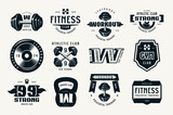 Fototapety Gym club, fitness and workout badges and logo