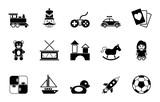 Kinderspielzeug  Iconset In Schwarz Wall Sticker