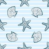 Seashells And Starfishes Seamless Pattern