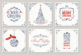 Ornate square winter holidays greeting cards with New Year tree, gift box, Christmas ornaments, swirl frames and typographic design.