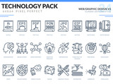 Web and Graphic Design Icons Set. Technology outline icons pack. Pixel perfect thin line vector icons for web design and website application. - 180698529