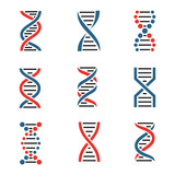 DNA icon set isolated on a white background. - 180698704