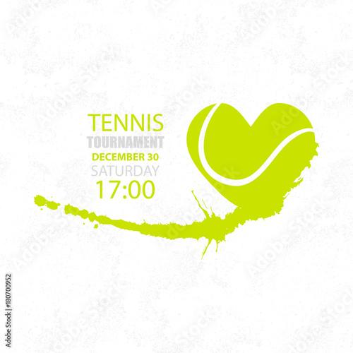 Fototapeta Tennis sport, ball heart, game graphic design. Retro, spray, hand drawing.
