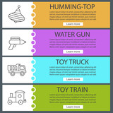 Kids toys web banner templates set