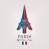 Vector travel banner. Schematic drawing of the Eiffel tower in Paris with the inscription and the French flag on abstract background