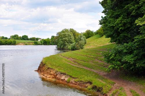 Fotobehang Lente landscape with river for your design