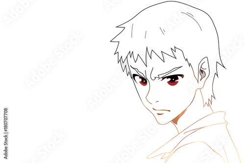 Anime eyes. Anime face with red eyes on white background for cartoon. Vector illustration - 180707708