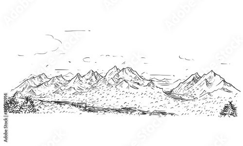 Fotobehang Wit Sketchy Drawing of Mountain Hilly Rocky Landscape
