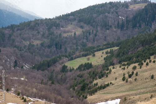Fotobehang Bison The mountain range of the Big Thach natural park. Adygea