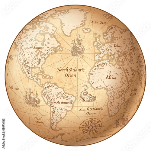vector-globe-vintage-world-map